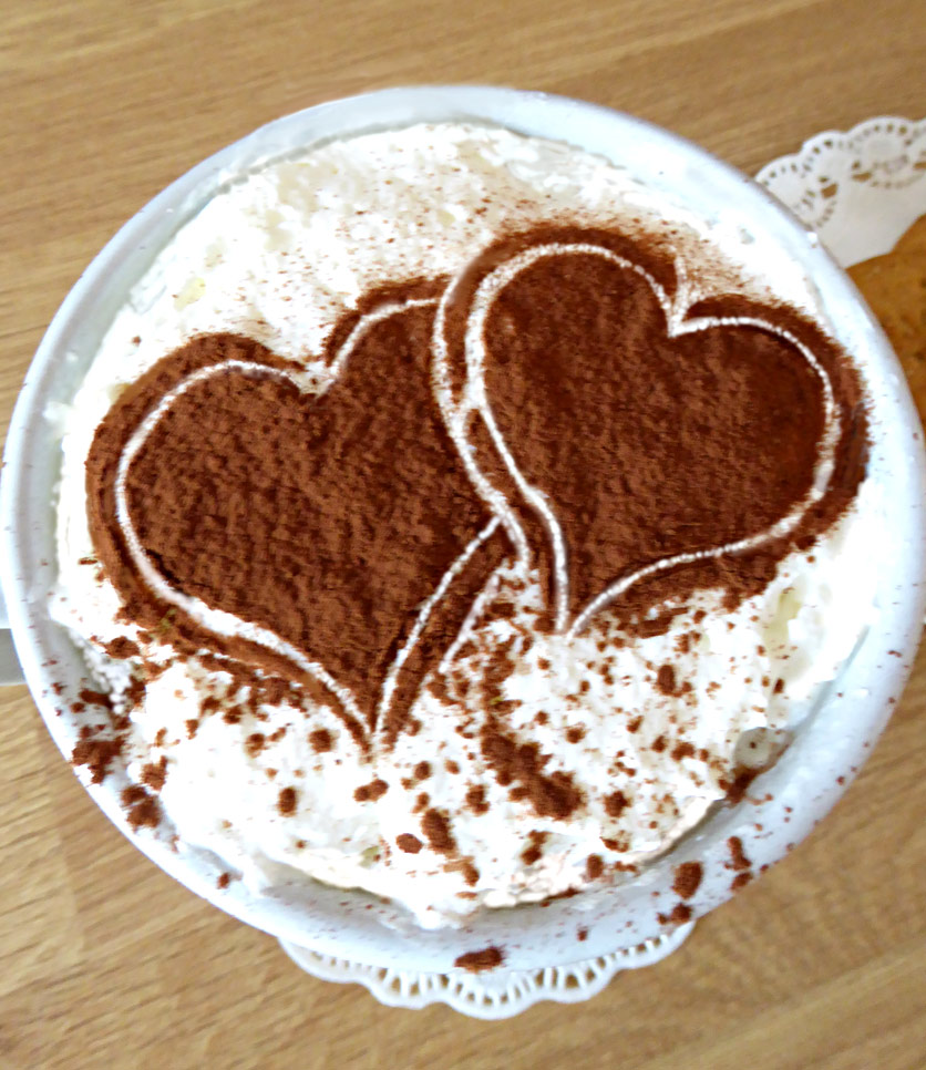 Above The Silhouette And Outline Pair Of Hearts This Stencil In Dark Cocoa On Indulgent Cream For An Extra Special Treat