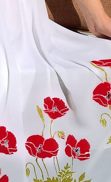 Little Poppy Stencil on fabric