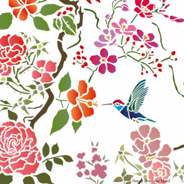 Parrot-Peony-All-over-Stencil-G16