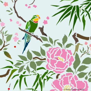 Parrot-Peony-All-over-Stencil-G17