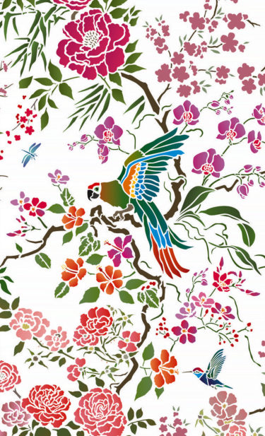 Parrot-Peony-All-over-Stencil-G9