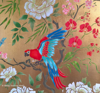 Parrot-and-peony-panel-stencil