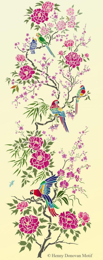 Parrot-and-peony-panel-stencil-G16