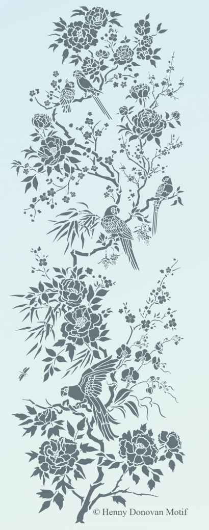 Parrot-and-peony-panel-stencil-G17