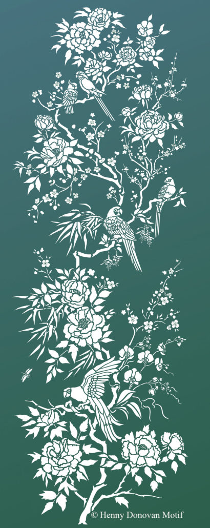 Parrot-and-peony-panel-stencil-G4A
