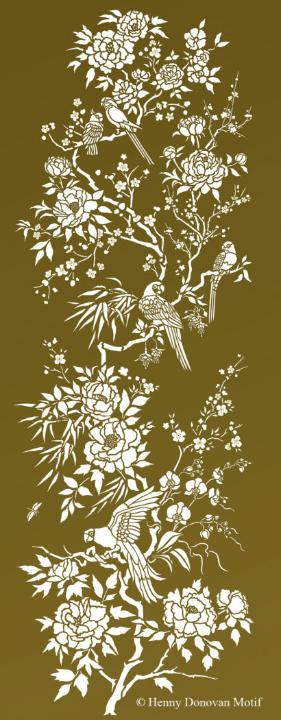 Parrot-and-peony-panel-stencil-G6A