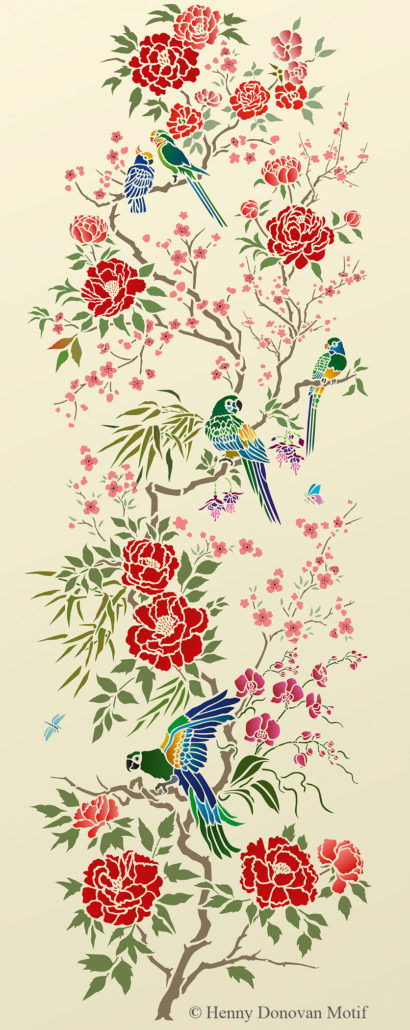 parrot-and-peony-panel-stencil-G20
