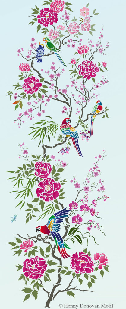parrot-and-peony-panel-stencil-G26