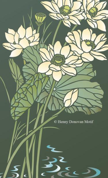 Lotus-Waterlily-Stencil-1-copyright-Henny-Donovan-Motif-G1