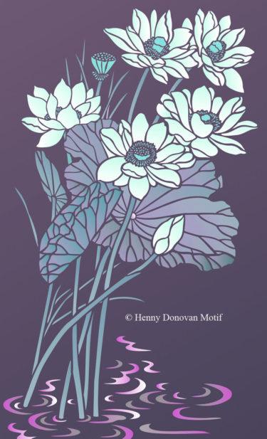 Lotus-Waterlily-Stencil-1-copyright-Henny-Donovan-Motif-G2