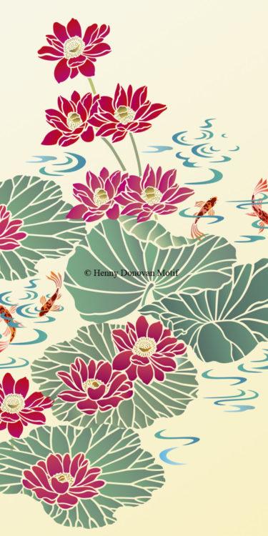 Lotus-Waterlily-Stencil-4-copyright-Henny-Donovan-Motif-G2