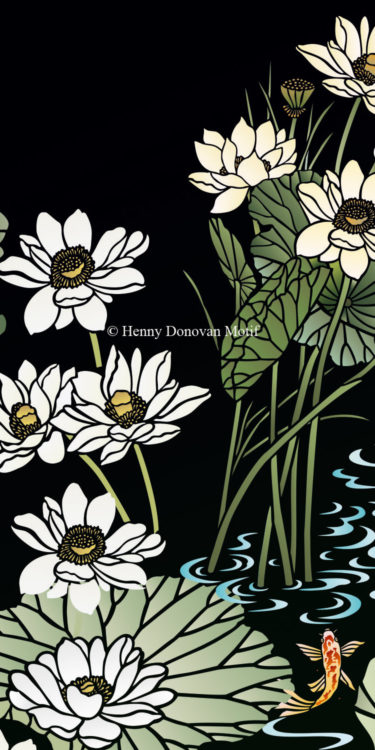 Lotus-Waterlily-Stencil-4-copyright-Henny-Donovan-Motif-G8A