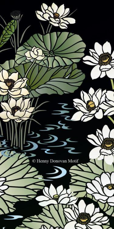 Lotus-Waterlily-Stencil-4-copyright-Henny-Donovan-Motif-G8B