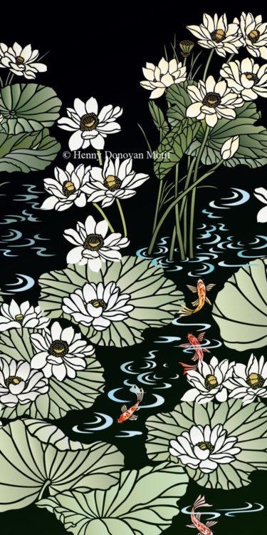 Lotus-Waterlily-Stencil-4-copyright-Henny-Donovan-Motif-G8C